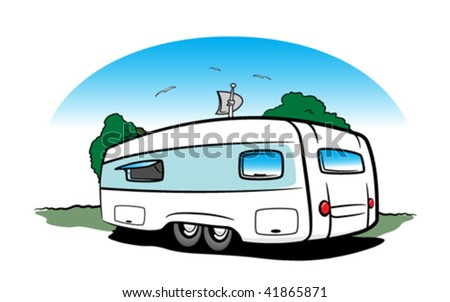 Travel trailer - stock vector