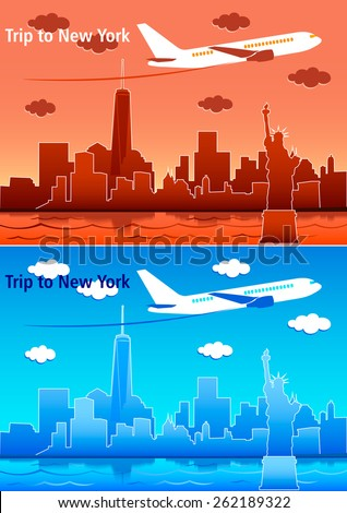 Travel trip Statue airplane skyscrapers  - stock vector