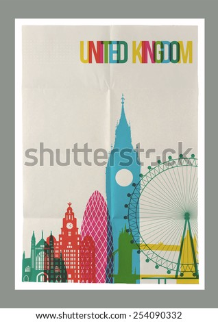 Travel United Kingdom famous landmarks skyline on vintage paper sheet poster design background. Vector organized in layers for easy create your own postcard, brochure or marketing campaign. - stock vector