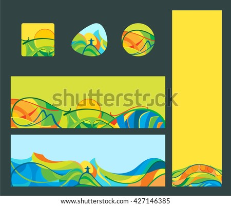 Travel & vacation - banners and buttons set.  Latin America landscapes, vector template for web, print.
