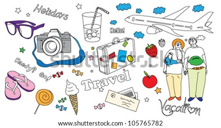 Travel, vacation objects - stock vector