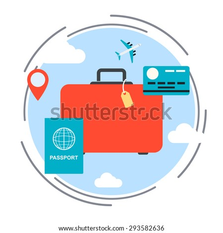 Travel, vacation, voyage flat design style vector concept illustration - stock vector