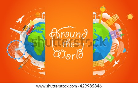 Travel vector illustration. Around the world concept. Travel booklet template - stock vector
