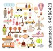 Travel - vector illustration. Collage, set of vector icons. - stock vector