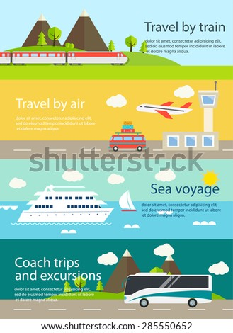 Travel web banners set. With airplane; train; bus; ship. Travel by train; sea cruise; coach trips and excursions; travel by air concepts - stock vector