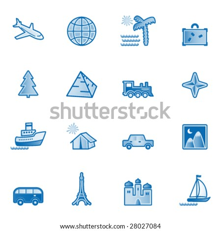 Travel web icons, blue series
