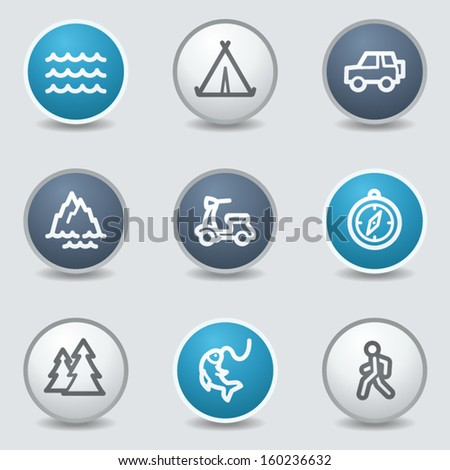 Travel web icons, circle blue buttons - stock vector