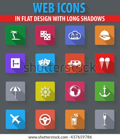Travel web icons in flat design with long shadows - stock vector