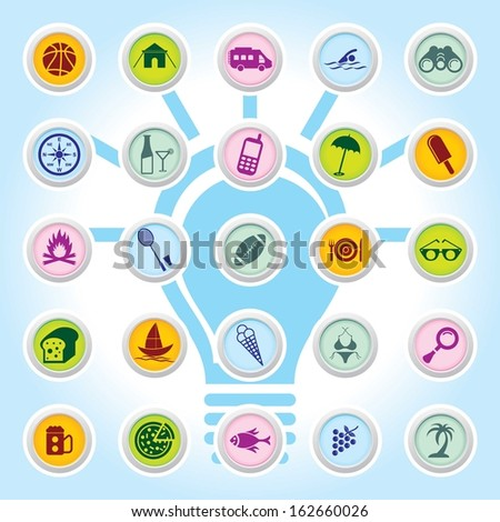Travel web icons on Buttons. EPS-10