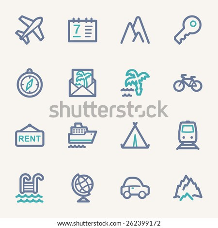 Travel web icons set - stock vector