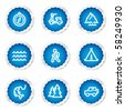 Travel web icons set 3, blue stickers series - stock vector