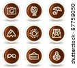 Travel web icons set 5, chocolate buttons - stock vector