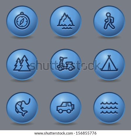 Travel web icons set 3, circle blue buttons - stock vector