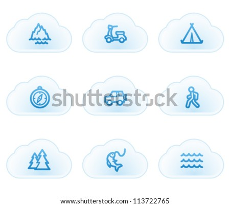 Travel web icons set 3, cloud buttons