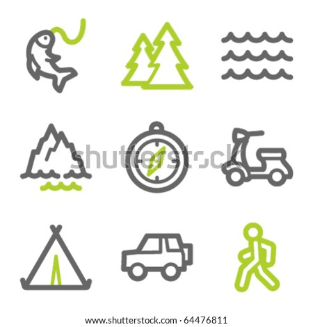Travel web icons set 3, green and gray contour series - stock vector