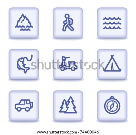 Travel web icons set 3, light violet glossy buttons - stock vector