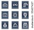 Travel web icons set 5, navy stamp series - stock