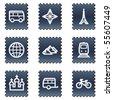 Travel web icons set 2, navy stamp series - stock