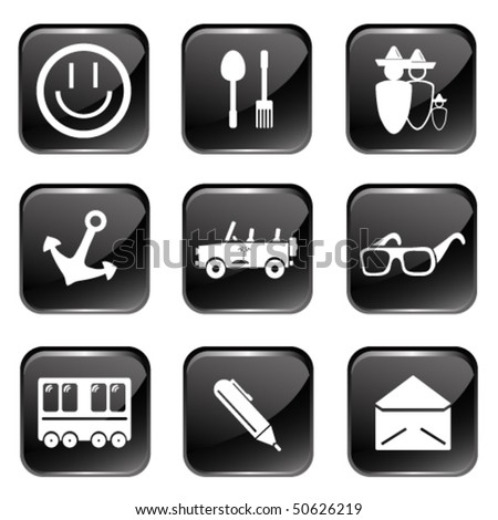 Travel Web Icons Set 2 (Square Glossy Buttons) - stock vector