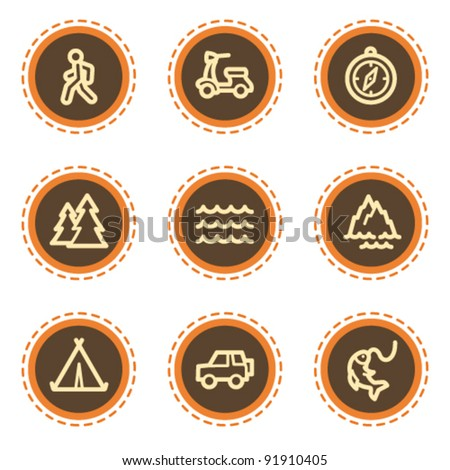 Travel web icons set 3, vintage buttons - stock vector