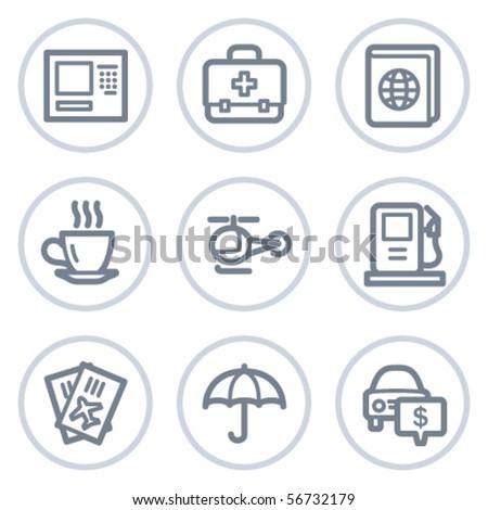 Travel web icons set 4, white circle series - stock vector
