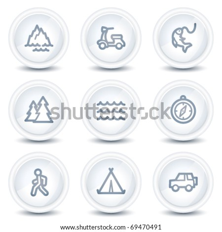 Travel web icons set 3, white glossy circle buttons - stock vector