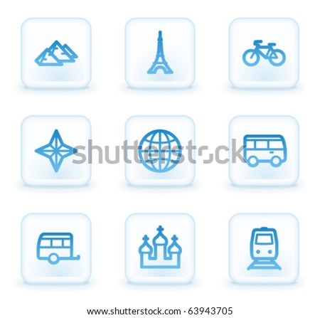 Travel web icons set 2, white square buttons - stock vector
