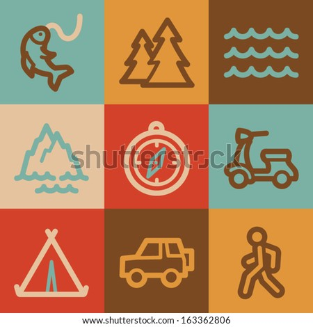 Travel web icons, vintage series - stock vector