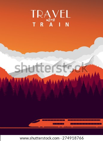Travel with train background - stock vector