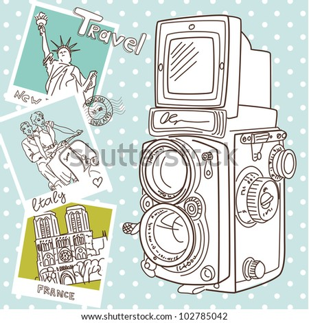 Travel with your vintage camera. Snapshots of different countries and old TLR camera on a wooden background - stock vector