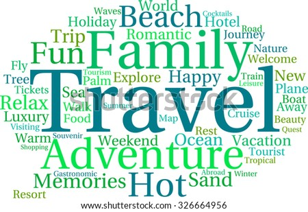 Travel word cloud on a white background.