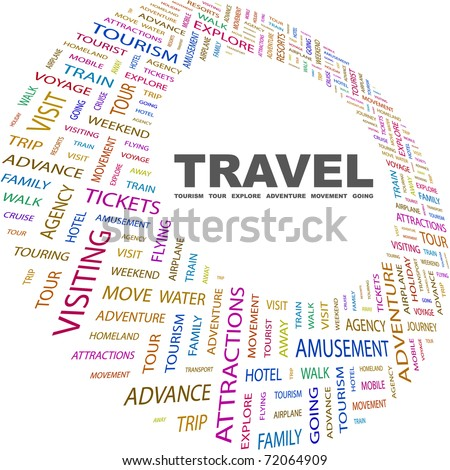 TRAVEL. Word collage on white background. Vector illustration. Illustration with different association terms.