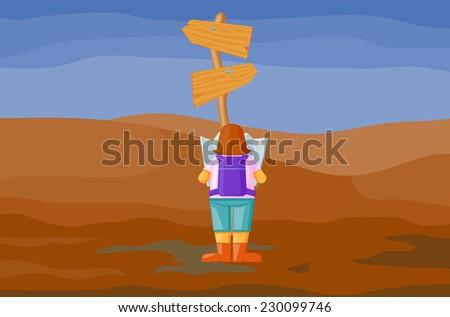 Traveler looking for directions in the desert vector - stock vector