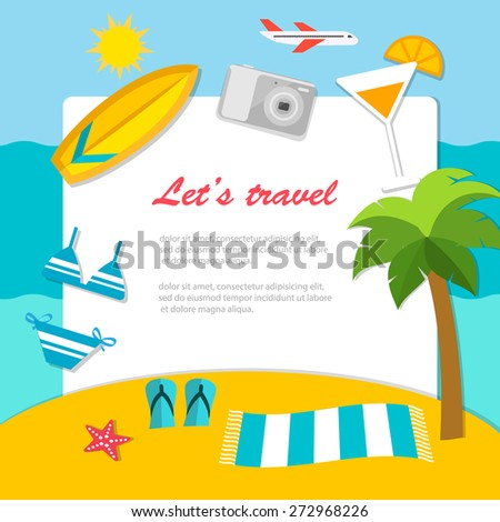 Traveler's background with tropical island, palm,  sea, surf board, bikini, camera, cocktail, airplane and copy space. Travel and vacations concepts. - stock vector