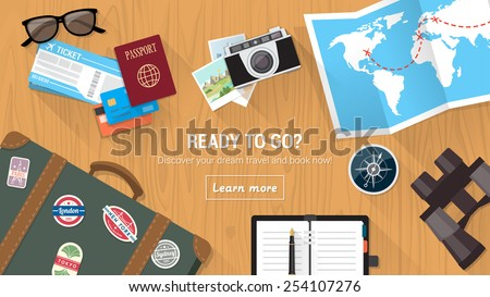 Traveler's desktop with suitcase, camera, plane ticket, passport, compass and binoculars, travel and vacations concept - stock vector