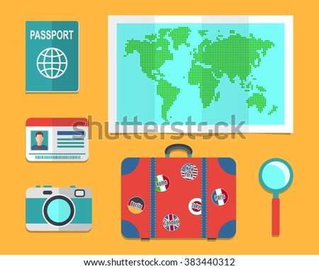 Traveler's suitcase, earth map, passports, Travel and vacations concept