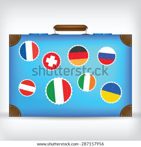 Traveler's Suitcase With Stickers Of Different Countries. Vector Illustration
