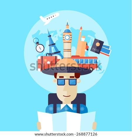 Traveler with backpack holding map. Flat design vector illustration. - stock vector