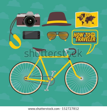 traveler with bicycle on green background  - stock vector