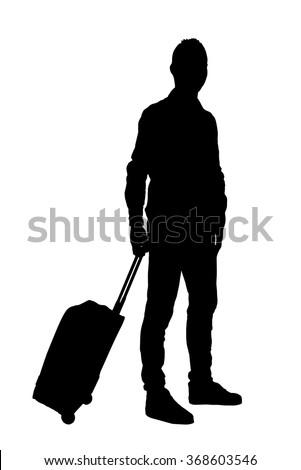 Traveler with trolley silhouette on white in full length - stock vector