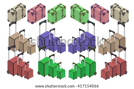 Travelers suitcases. The objects are isolated against the white background. Suitcase, large polycarbonate suitcase. Travel plastic suitcase with wheels realistic. Flat 3d Vector isometric illustration - stock vector