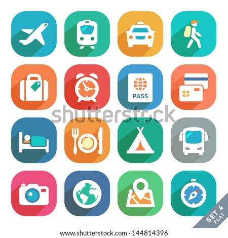 Traveling and transport Flat icons for Web and Mobile Applications. - stock vector