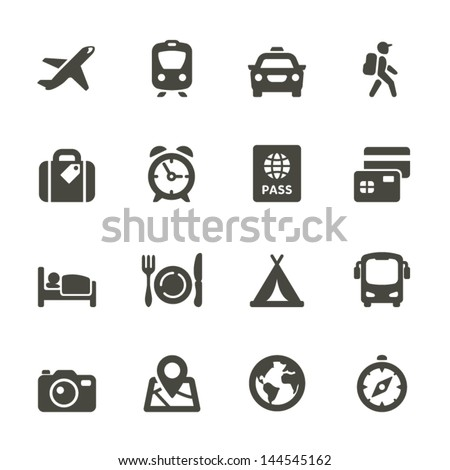 Traveling and transport icons for Web and Mobile App. Rounded Set 4. - stock vector