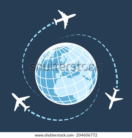 Traveling around the world by air transport concept wit three airplanes circumnavigating a globe on a dark blue background with flight paths  vector illustration - stock vector