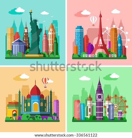 Traveling around the world. Cities skylines set. Flat landscapes of London, Paris, New York and Delhi with landmarks - stock vector