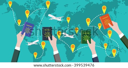 traveling around the world with people hand passport - stock vector