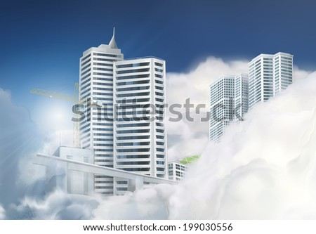 Traveling by taxi in the clouds, vector background - stock vector