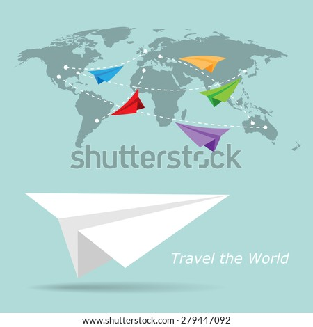 Traveling concept. Paper plane - stock vector
