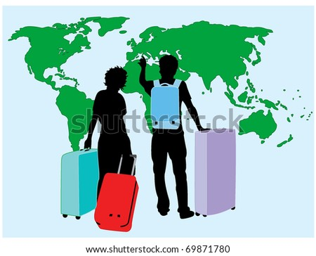 Traveling couple - stock vector