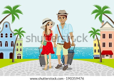 Traveling Couple in Seaside town -EPS10 - stock vector
